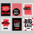 Sales Discount Poster Set In Variations With Modern Red And Black Design Royalty Free Stock Photo