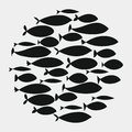 School of fish. A group of silhouette fish swim in a circle. Marine life. Vector illustration. Tattoo. Logo fishes.