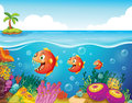 A school of fish near the coral reefs illustration Stock Photography