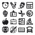 School flat icons black set of about Stock Photo