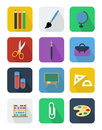 School flat vector icons set of colorful modern design Stock Image
