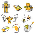 School and fun icon set + vector Stock Images