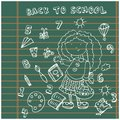 School girl background. Cartoon icons set Stock Photo