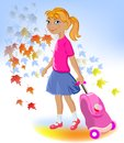 School girl with bag Royalty Free Stock Images