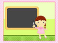 School girl with blackboard Royalty Free Stock Photo