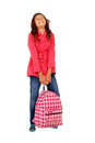 School girl child struggling with heavy backpack Royalty Free Stock Photography