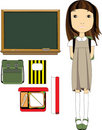 School Girl And Classroom Essentials Royalty Free Stock Photos