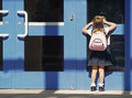 image photo : school girl first day