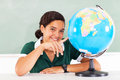 School girl globe beautiful teenage pointing the Royalty Free Stock Image