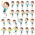 School girl green blazer set of various poses of Stock Image