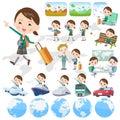 School girl Green Blazer travel