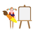 School girl illustration of with brush and easel on white background Stock Photo