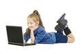 School Girl Kid looking at Computer. Schoolgirl wi