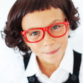 School girl portrait of funny little wearing glasses Royalty Free Stock Photos