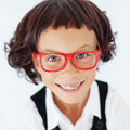 School girl portrait of funny little wearing glasses Royalty Free Stock Images