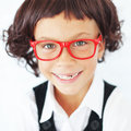 School girl portrait of funny little wearing glasses Stock Images
