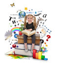 Royalty Free Stock Photography School Girl Reading Book on White