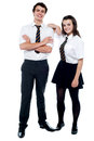 School girl resting hand on her classmate Royalty Free Stock Photos