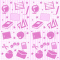 School Girl Seamless Tiles Stock Images
