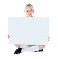 School girl showing blank billboard Royalty Free Stock Photo