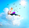School girl student cloud reading book education Stock Image