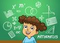 School girl write math sign object in school blackboard