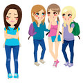 School girls bullying three poor sad girl classmate Stock Photo
