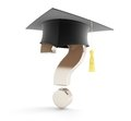 School graduation under a question mark on white background Royalty Free Stock Image