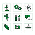 School icons 2 green Stock Photos