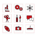 School icons 2 red Royalty Free Stock Photo