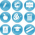 School icons on blue balls Royalty Free Stock Image