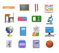 School icons and objects vector set of Royalty Free Stock Photos