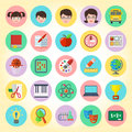 School icons set of flat round Stock Photos