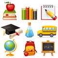 School icons set of glossy cartoon Royalty Free Stock Image