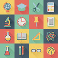 School icons set of square flat Royalty Free Stock Photo