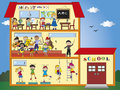 School illustration of funny with children Royalty Free Stock Images