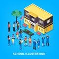 School Isometric Illustration