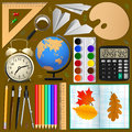 School items set . objects, Vector .