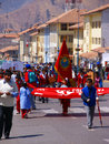 School kids carrying banners in parade demonstration supporting ecology cusco peru south america Royalty Free Stock Photos