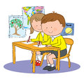 School kids classroom hand drawn picture of children in at illustrated in a loose style vector eps available Stock Photography
