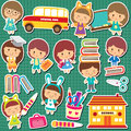 School kids clip art Royalty Free Stock Photo