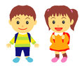School kids elementary girl and boy Stock Images