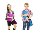 School kids group children uniform on white little girl boy in with student folder seven years old isolated background Stock Photo