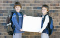 School Kids Holding Blank Sign Royalty Free Stock Images