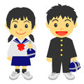 School kids in japan girl and boy junior high students Stock Photo