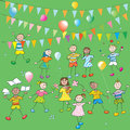 School kids party hand drawn composition ballons colored flags doodles over greeen grass backgound Stock Image
