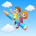 School kids riding a pencil