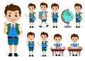School kids student vector characters set. Back to school boy cartoon characters Royalty Free Stock Photo