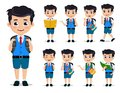 School kids vector characters set. Young student boy wearing school uniform and backpack in various standing posses