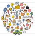School, kindergarten. Happy children. Creativity, imagination doodle icons with kids. Play, study, grow Happy students